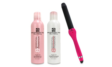 Clipless Curling Iron, Heat-Resistant Glove, Shampoo, and Conditioner Set