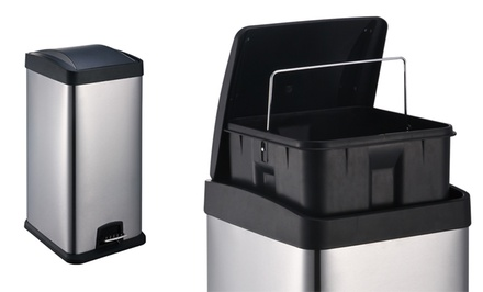 30-Liter Stainless Steel Square Trash Bin