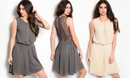 Women's Lace Panel Sleeveless Blouson Dress