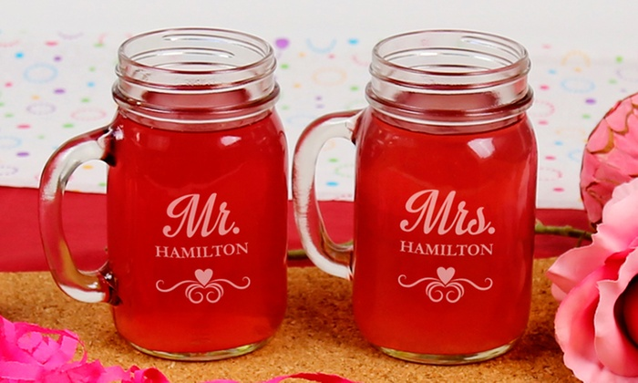 Monogram Online: Individual or Couples Personalized Glass Jars from Monogram Online (Up to 67% Off)