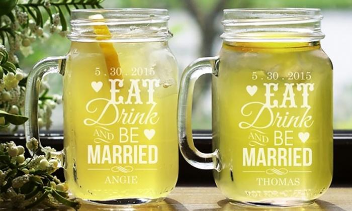 GiftsForYouNow.com: Personalized Couples Mason Jar Set (2-Piece) from GiftsForYouNow.com