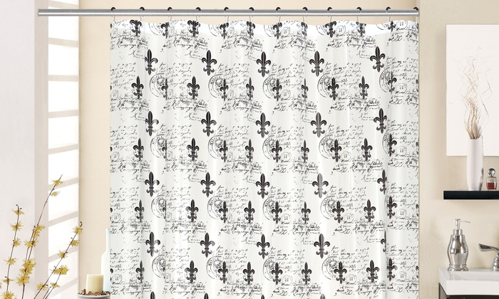 Fleur de lis printed peva shower curtain groupon - Fleur de lis shower curtains ...