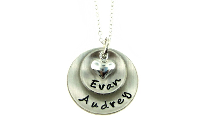 Hannah Design: Custom Hand Stamped Domed Pendant with Heart Charm