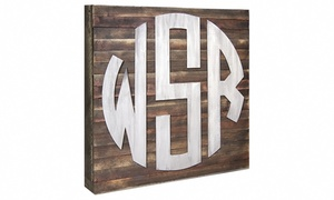 "aMonogram Art: 18""x18"" Customized Natural or Painted Wood Monogram Circle Sign from aMonogram Art (50% Off)"