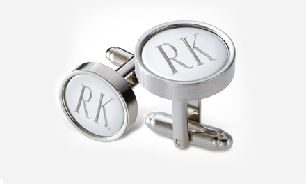 $24.99 for a Pair of Personalized Round Metal Cufflinks in a Black Gift Box from Monogram Online ($69 Value)