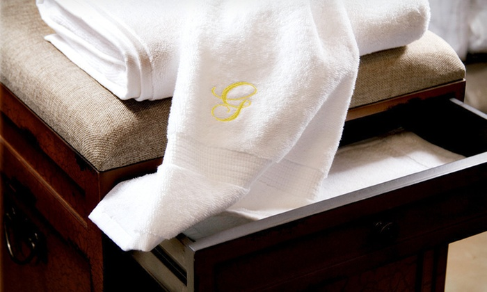 Egyptian-Cotton Monogrammed Towel Sets: Luxor Linens Three- or Six-Piece Egyptian-Cotton Towel Set with Gold or Black Monogram (Up to 84% Off). Free Shipping.