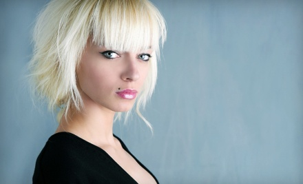 Haircut and Style with Base Color or Partial or Full Highlights at Salon de Trois (Up to 54% Off)