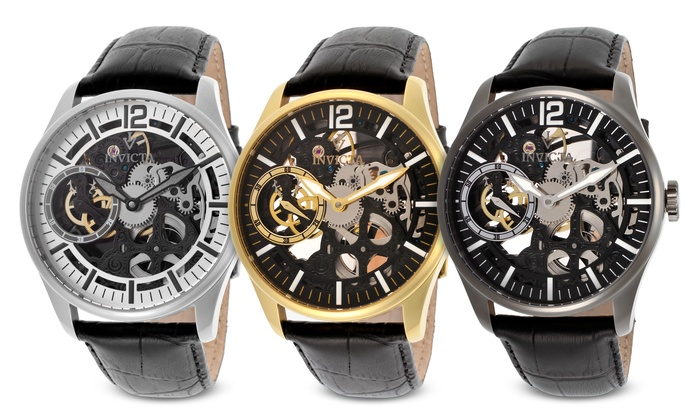 invicta men s skeleton watches groupon goods invicta men s vintage collection mechanical watch invicta men s vintage collection mechanical skeleton watch