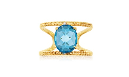3.40 CTW Blue Topaz and Diamond Split-Shank Ring in 14K Gold