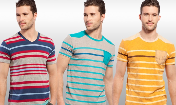 X-Ray Jeans Men's Striped T-Shirts: X-Ray Jeans Men's Striped T-Shirt. Multiple Colors and Styles Available. Free Returns.