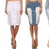 Junior Women's Denim and Lace Skirts