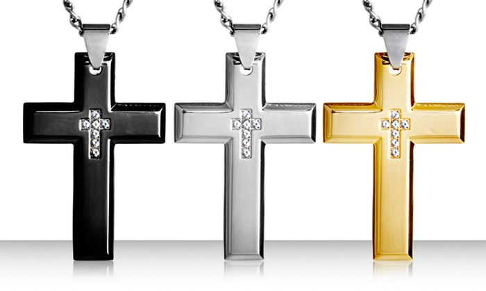 CZ Double Cross Necklaces: Crucible Stainless Steel Cubic Zirconia Inlay Cross Pendant. Multiple Colors Available. Free Returns.