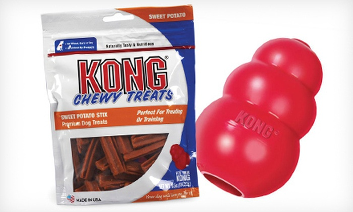 Kong Classic Dog Toy and Chewy Treats: Kong Classic Dog Toy and Chewy Treats (Up to 48% Off). Four Sizes Available.