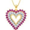 White Sapphire and Ruby Heart Pendant