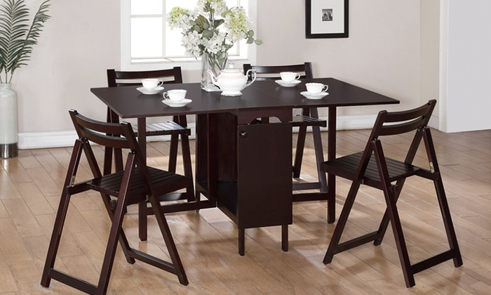 linon 5-piece folding dining set | groupon goods