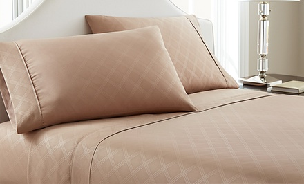 Hotel New York Embossed Plaid Microfiber Sheet Set from $17.99–$22.99