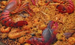 Dos Ríos: Menú de arroz con bogavantepara 2 o 4 con entrantes, principal, postre y botella de vino desde 29,90 € en Dos Ríos