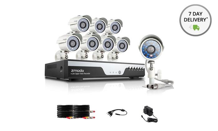 Zmodo 8-Channel DVR Security System With 8 700TVL IR Night Vision Cameras: Zmodo 8-Channel 960H DVR Security System with 1TB Memory and8 700TVL IR Night Vision Cameras.Free Returns.
