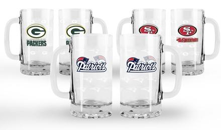 NFL Satin-Etched Tankards (Set of 2)