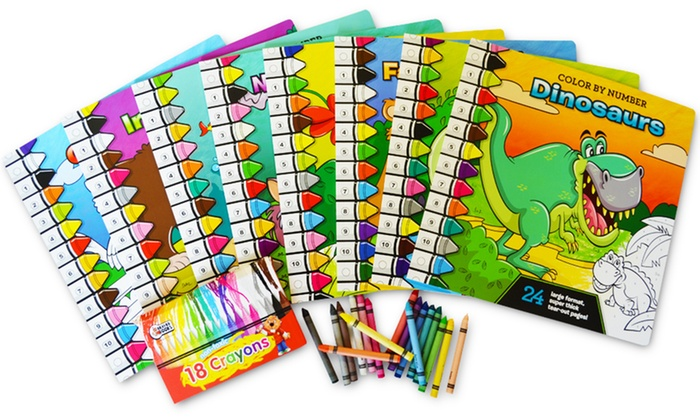 color by number 8 book set with crayons color by - Color By Number Books