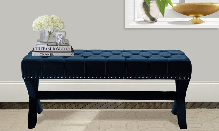 Neil Modern X Leg Button Tufted Velvet Bench ...