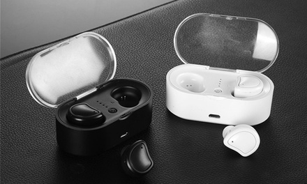 $25 for Mini Bluetooth V4.2+EDR Earphones with Charging Box