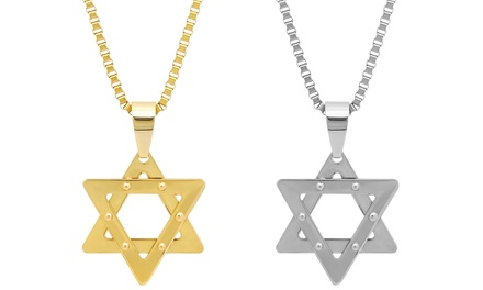 Stainless Steel or 18K Gold Plated Star of David Pendant