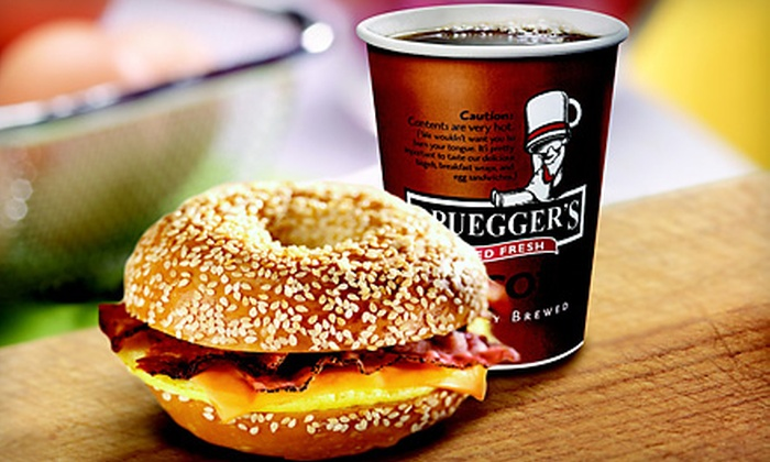 Bruegger's - East Louisville: 13 Bagels and Two Cream Cheeses, or Three Egg Sandwiches with Drinks at Bruegger's (Up to Half Off)