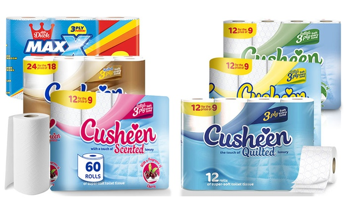 Cusheen 48, 60, 96 or 120 Rolls of 3 Ply Toilet Paper, with the option to include Kitchen Roll