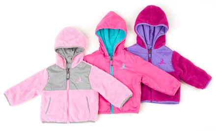 Rugged Bear Toddler Girls' Reversible Sherpa Jacket. Multiple Colors Available.