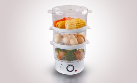 3-Tier Ovente Food Steamer with Rice Bowl