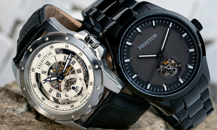 1108b2312 Up To 90% Off Heritor Automatic Skeleton Watch | Groupon