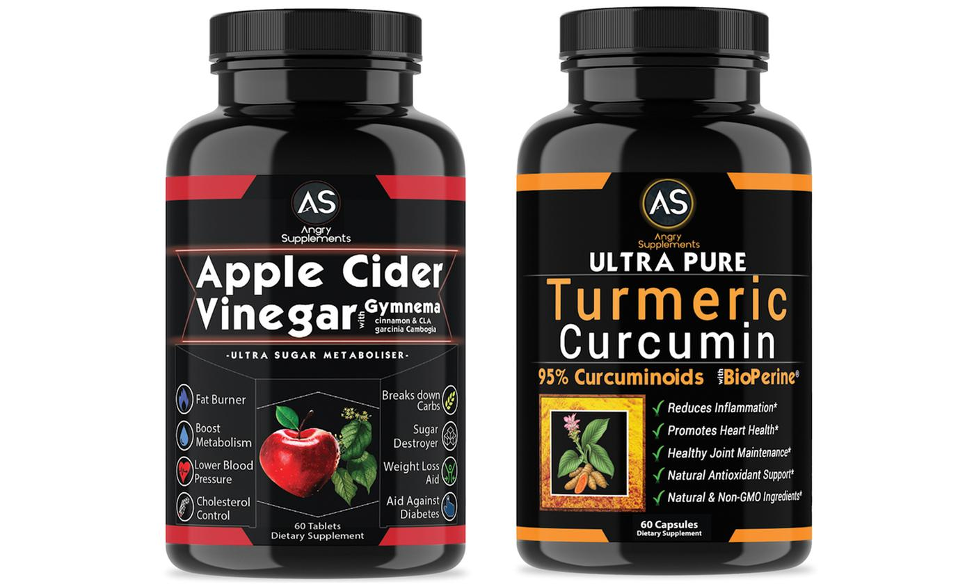Save 70% on Angry Supplements Apple Cider Vinegar &Turmeric Supplements (120-Ct.)