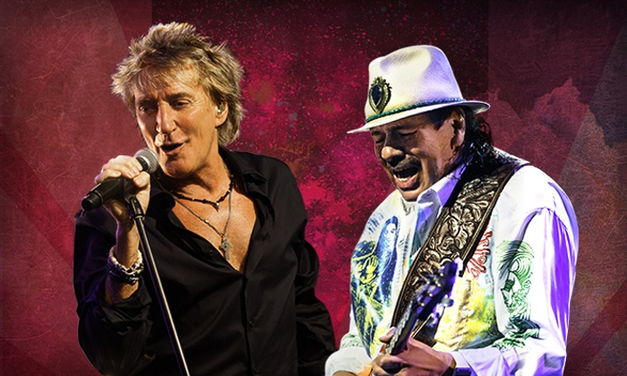 "Rod Stewart & Santana: The Voice. The Guitar. The Songs. - Lincoln: ""Rod Stewart & Santana: The Voice. The Guitar. The Songs."" at Pinnacle Bank Arena on Saturday, June 7 (Up to 56% Off)"