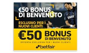 Playnews24: Buono di 50 € per scommettere e vincere su Betfair con Playnews24