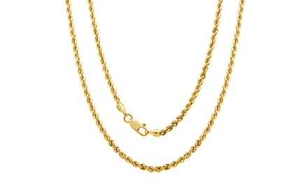 14K Solid Gold Diamond Cut Chain Necklace