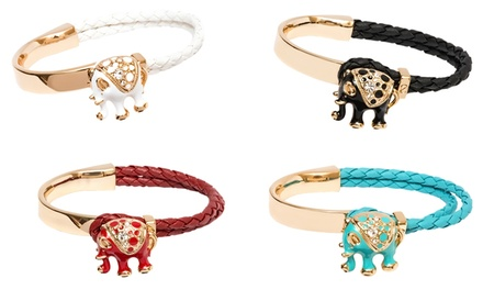 Leather Elephant Bracelet with Swarovski Elements