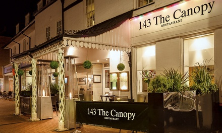 Hot Stone Steak or Fish Meal with a Glass of Wine for Two or Four at 143 The Canopy Restaurant (Up to 56% Off)
