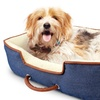 Denim Pet Bed Cuddler with Plush Interior and Faux Leather Piping