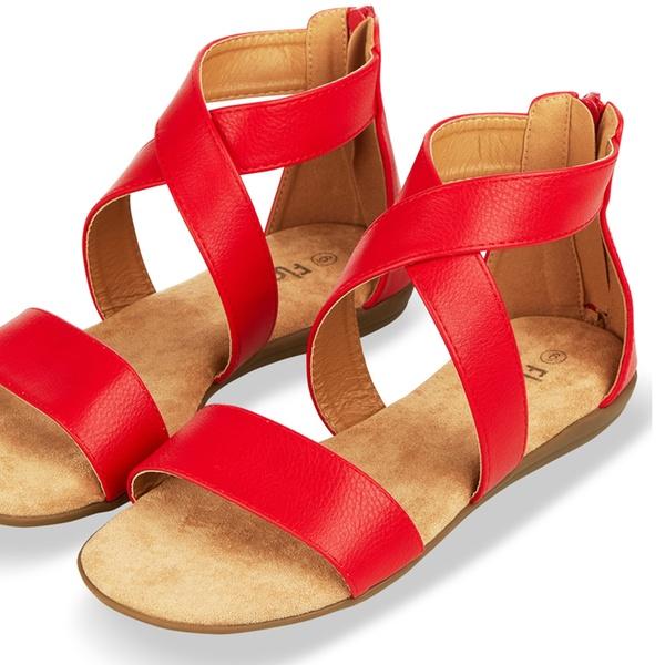 6865c22da07 Floopi Women's Summer Criss-Cross Gladiator Ankle-Strap Flat Sandals with  Back Zipper