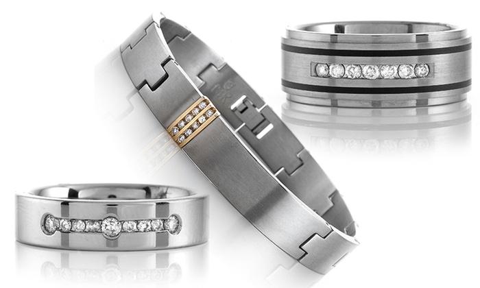 Men's Diamond Band or Bracelet: Men's Diamond Band or Bracelet. Multiple Styles Available. Free Shipping.