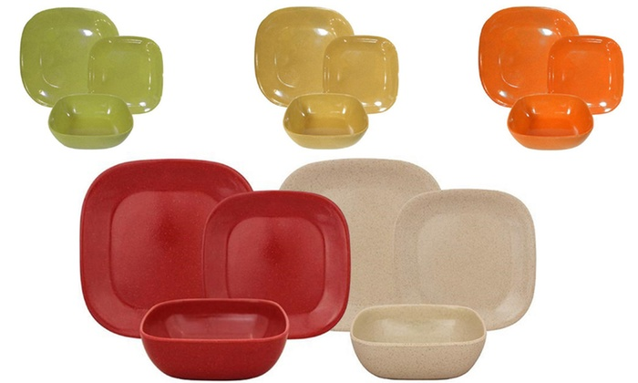 Bamboo Melamine 12-Piece Rounded Square Dinnerware Set ...  sc 1 st  Groupon & 12-Piece Square Dinnerware Set | Groupon Goods