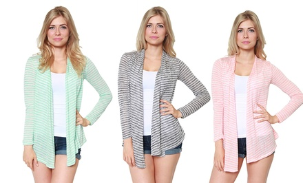 Women's Striped Open-Front Cardigan