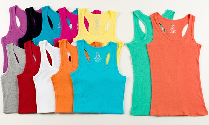 12-Pack of Ladies Ribbed Cotton Tank Tops: 12-Pack of Ladies Ribbed Cotton Tank Tops. Multiple Styles Available. Free Returns.