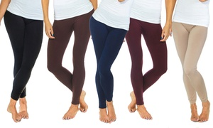 Women's Solid Fleece-Lined Leggings (2-Pack)