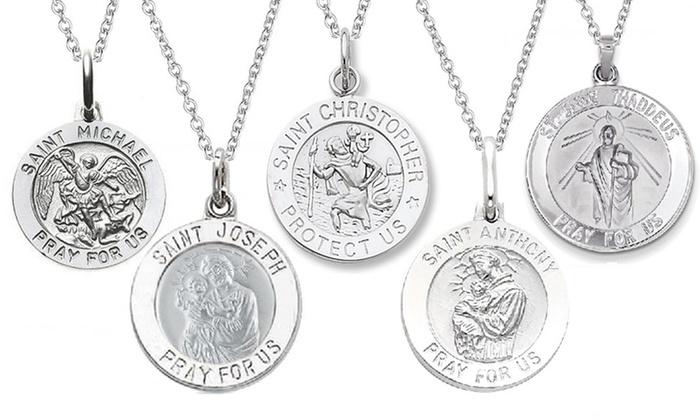 Saint medallion pendant necklace groupon goods italian sterling silver saint medallion pendant necklaces italian sterling silver saint medallion pendant necklace aloadofball Choice Image