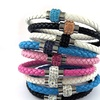 Genuine Leather Braided Bracelet Made with Swarovski Elements Crystals