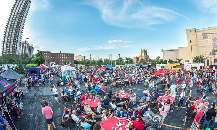 First Friday Food Truck Festival - Egyptian Room at Old National Centre: First Friday Food Truck Festival at Old National Centre Parking Lot, May 1–October 2 (Up to 58% Off)