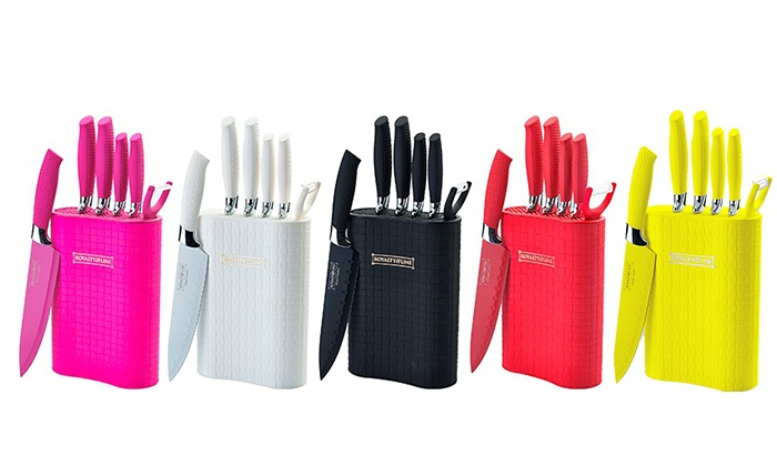 Groupon Goods Global GmbH: Six-Piece Royalty Line Switzerland Non-Stick Knife Set with Stand for £14.99 (88% Off)