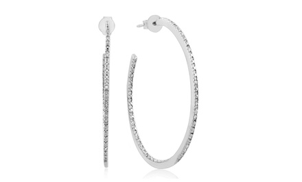 1/10-Carat Diamond Inside-Outside Sterling Silver Hoop Earrings.